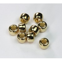 9x7mm Pony Metalized Plastic Beads, Gold Tone