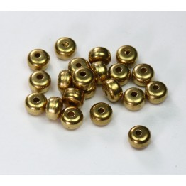 6x4mm Smooth Rondelle Metalized Plastic Beads, Gold Tone