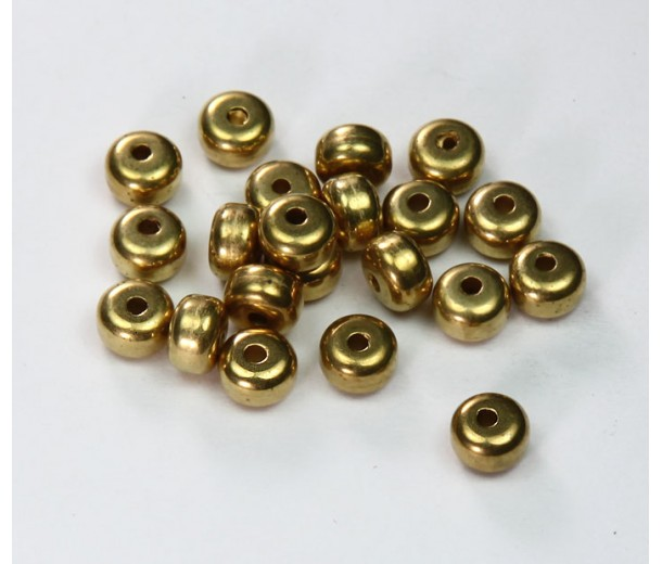 6x4mm Smooth Rondelle Metalized Plastic Beads, Gold Tone, Pack of 20