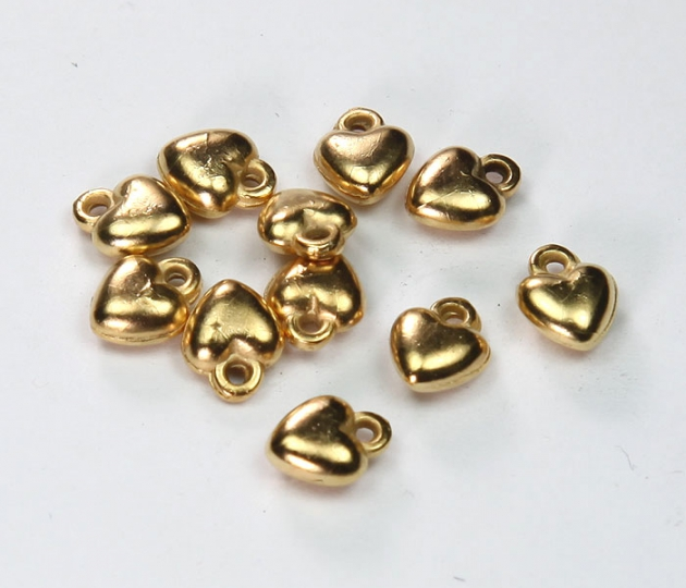 8x6mm Smooth Heart Metalized Charms, Gold Tone