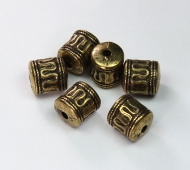 12x11mm Barrel Metalized Beads, Antique Gold