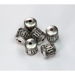 12x11mm Barrel Metalized Beads, Antique Silver