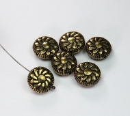 14mm Flat Pinwheel Metalized Beads, Antique Gold