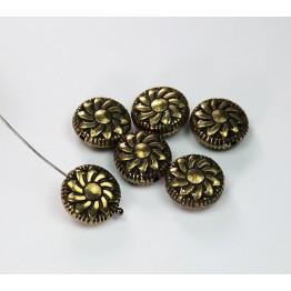 14mm Flat Pinwheel Metalized Beads, Antique Gold