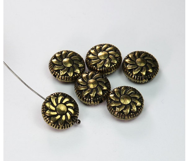 14mm Flat Pinwheel Metalized Beads, Antique Gold, Pack of 6