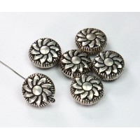 14mm Flat Pinwheel Metalized Beads, Antique Silver