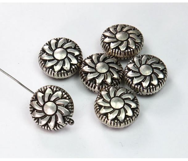 14mm Flat Pinwheel Metalized Beads, Antique Silver