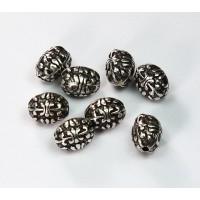 10x8mm Fleur de Lis Oval Metalized Beads, Antique Silver