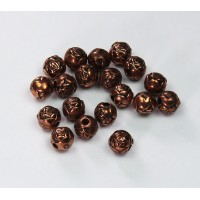 6mm Rosebud Metalized Plastic Beads, Antique Copper