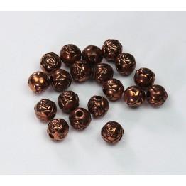 6mm Rosebud Metalized Plastic Beads, Antique Copper