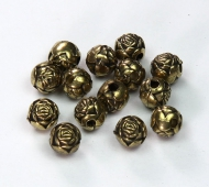 6mm Rosebud Metalized Plastic Beads, Antique Gold