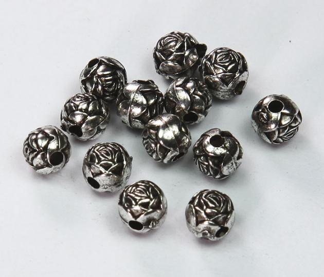 6mm Rosebud Metalized Plastic Beads, Antique Silver