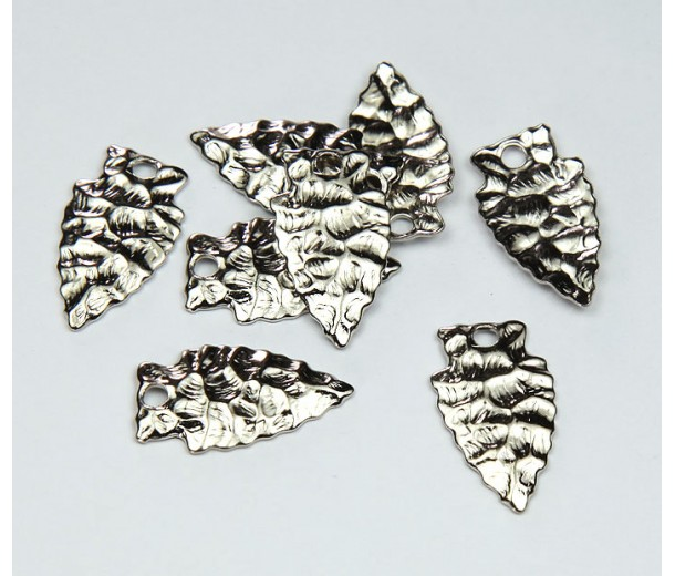 20mm Arrowhead Charms, Rhodium Plated, Pack of 10