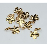8mm Tiny Clover Charms, Gold Plated