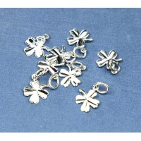8mm Tiny Clover Charms, Silver Plated
