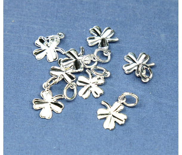 8mm Tiny Clover Charms, Silver Plated, Pack of 12