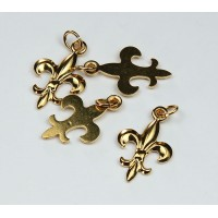 20x12mm Small Fleur-de-Lis Charms, Gold Plated, Pack of 6