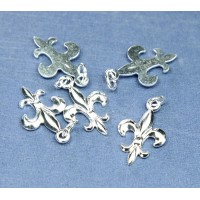 20x12mm Small Fleur-de-Lis Charms, Silver Plated