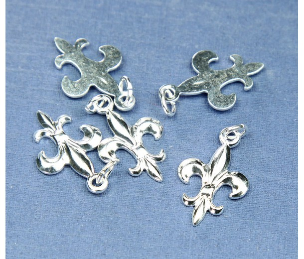 20x12mm Small Fleur-de-Lis Charms, Silver Plated, Pack of 6