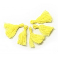 30mm Cotton Tassel Charms, Light Yellow