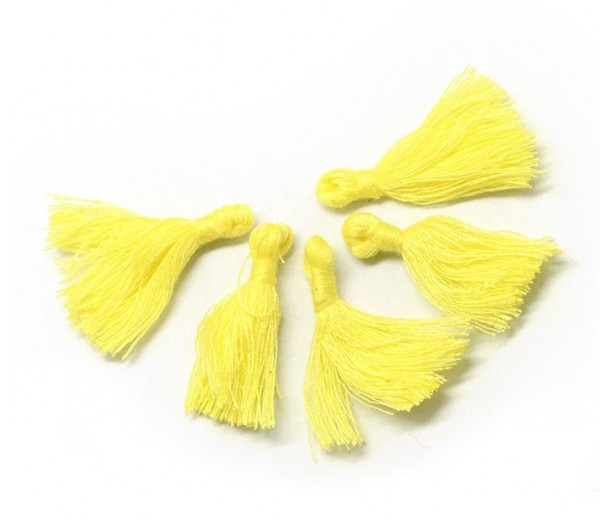 30mm Cotton Tassel Charms, Light Yellow, Pack of 10