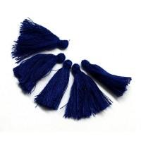 30mm Cotton Tassel Charms, Dark Blue, Pack of 10
