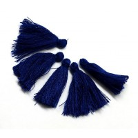 30mm Cotton Tassel Charms, Dark Blue, Pack of 10