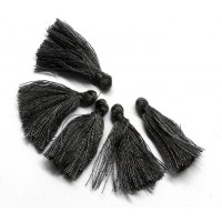 30mm Cotton Tassel Charms, Dark Grey