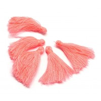 30mm Cotton Tassel Charms, Coral Pink, Pack of 10
