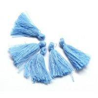 30mm Cotton Tassel Charms, Cornflower Blue, Pack of 10