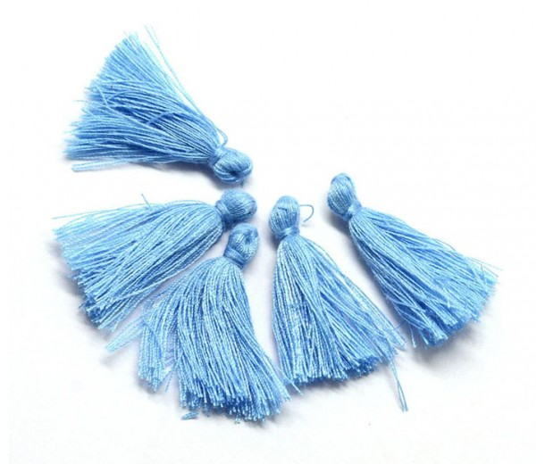 30mm Cotton Tassel Charms, Cornflower Blue, Pack of 10