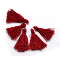 30mm Cotton Tassel Charms, Dark Red, Pack of 10