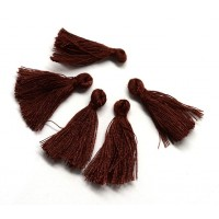 30mm Cotton Tassel Charms, Wine Brown, Pack of 10