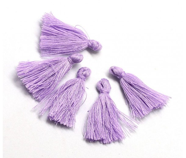 30mm Cotton Tassel Charms, Lilac Purple, Pack of 10