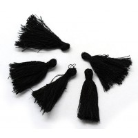 30mm Cotton Tassel Charms, Black