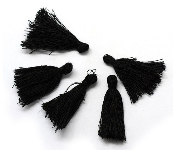 30mm Cotton Tassel Charms, Black, Pack of 10