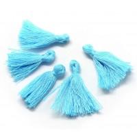 30mm Cotton Tassel Charms, Light Blue