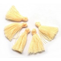 30mm Cotton Tassel Charms, Cream, Pack of 10