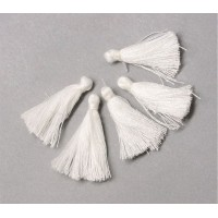 30mm Cotton Tassel Charms, White, Pack of 10
