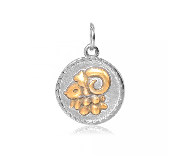 20mm Zodiac Sign Aries Charm, Antique Silver and Gold