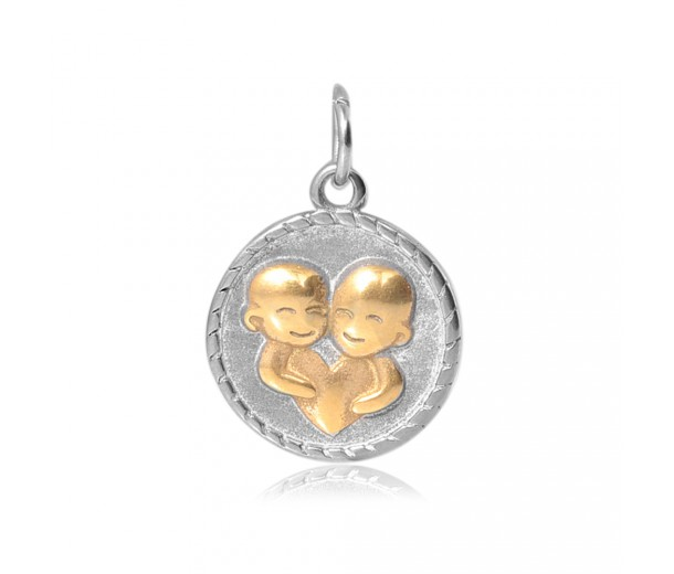 20mm Zodiac Sign Gemini Charm, Antique Silver and Gold