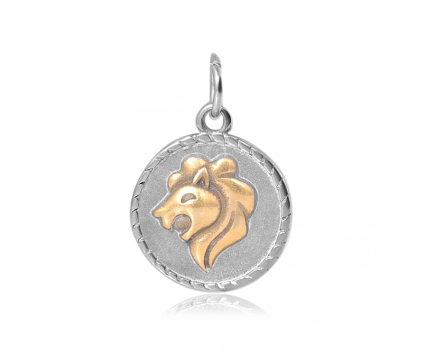 20mm Zodiac Sign Leo Charm, Antique Silver and Gold