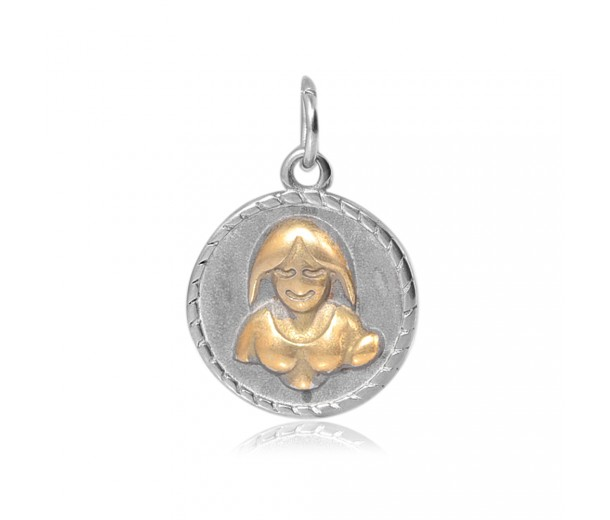 20mm Zodiac Sign Virgo Charm, Antique Silver and Gold