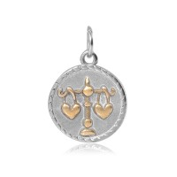 20mm Zodiac Sign Libra Charm, Antique Silver and Gold