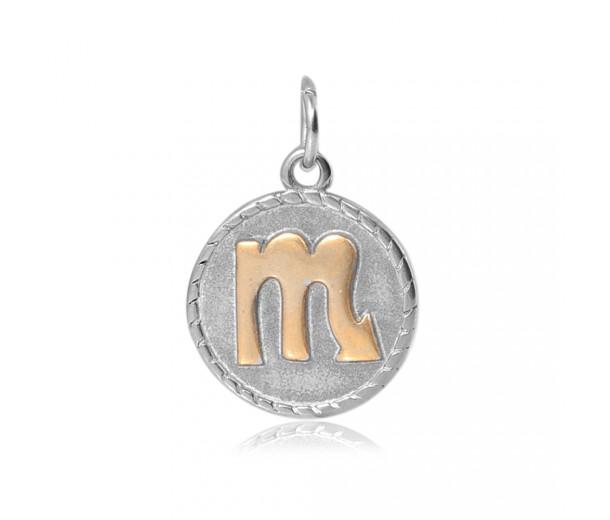 20mm Zodiac Sign Scorpio Charm, Antique Silver and Gold