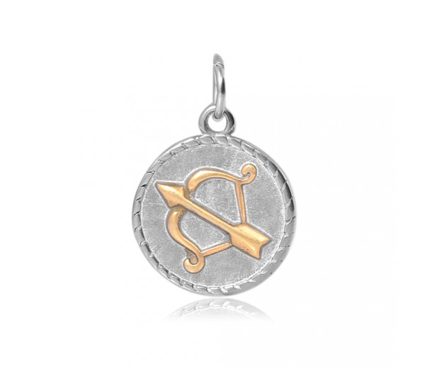 20mm Zodiac Sign Sagittarius Charm, Antique Silver and Gold
