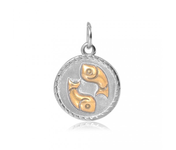 20mm Zodiac Sign Pisces Charm, Antique Silver and Gold