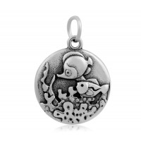 20mm Stainless Steel Ocean Life Charm, Antique Silver