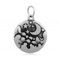 20mm Stainless Steel Starry Night Charm, Antique Silver