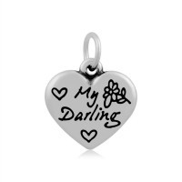 16mm Stainless Steel Heart Charm, My Darling, Antique Silver